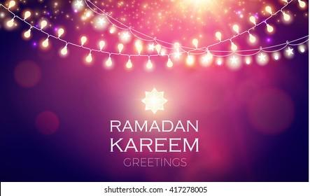 Ramadan Kareem Greeting Shining Lights Background. Vector illustration.