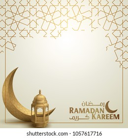 Ramadan kareem greeting template islamic crescent and arabic lantern vector illustration