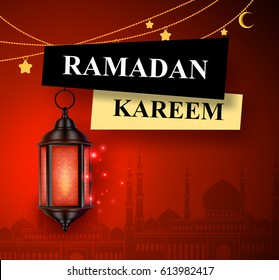 Ramadan kareem greeting vector banner design with hanging lantern or fanoos in red mosque background. Vector illustration.