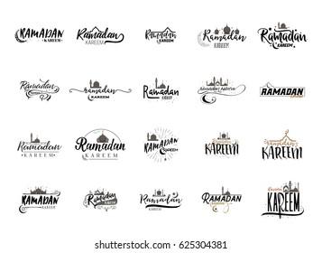 Ramadan Kareem - Handmade template. Isolated vector object logo is a badge for your design