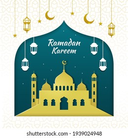 Ramadan kareem with hanging lantern and crescent moon