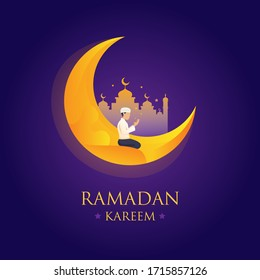 Ramadan Kareem, Happy Ramzan, Festival of Ramadan, Mosque, Man Praying,