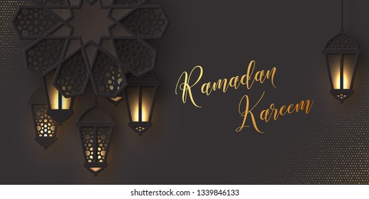 Ramadan Kareem holiday design. 3d paper cut flower decorated traditional islamic pattern with shiny hanging lanterns, golden greeting text, black background. Vector illustration.