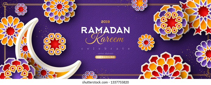 Ramadan Kareem Horizontal Banner with Moon and 3d Paper cut Islamic Stars on Violet Background. Vector illustration. Place for your Text.