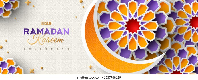 Ramadan Kareem Horizontal Banner with Moon and 3d Paper cut Islamic Stars on Light Background. Vector illustration. Place for your Text.