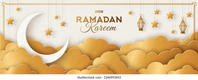 Ramadan Kareem Horizontal Banner with Moon, Gold 3d Paper cut Clouds and Traditional Lanterns on Light Background. Vector illustration. Place for your Text.