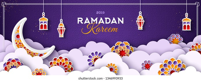 Ramadan Kareem Horizontal Banner with Moon, 3d Paper cut Clouds and Islamic Stars on Dark Background. Vector illustration. Traditional Lanterns and Place for your Text.