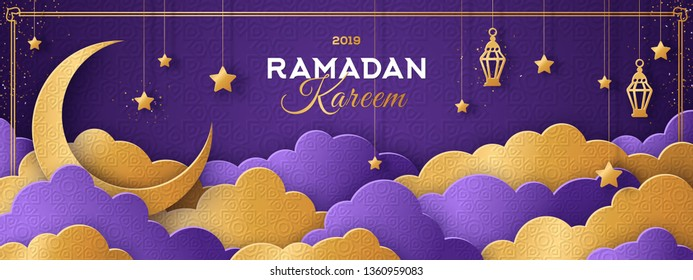Ramadan Kareem Horizontal Banner with Moon, Gold 3d Paper cut Clouds and Stars on Violet Background. Vector illustration. Traditional Islamic Lanterns and Place for your Text.