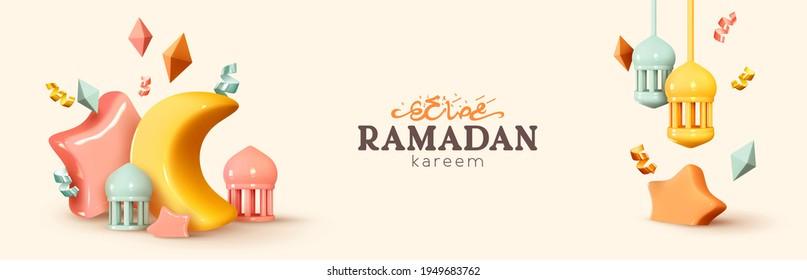 Ramadan Kareem horizontal banner, template header for website. Realistic 3d design. Traditional religious symbol crescent, hanging lanterns, gold confetti. Arabic Text Translation Ramadan Kareem - Shutterstock ID 1949683762