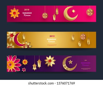 Ramadan Kareem horizontal banners with 3d arabesque stars and flowers. Vector Illustration for greeting card, poster and voucher. Islamic crescent moon with hanging traditional lanterns