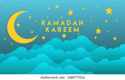 Ramadan Kareem Horizontal Banners with the Moon and stars, 3D Paper, Clouds and Stars on the Background of the Night Sky, Vector illustration, Vector Lantern. Place for Your Text.