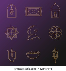 Ramadan Kareem icons with moon, lantern, mosque in the clouds. Symbols for muslim community. Kadir Gecesi Vector illustration in mono line style. For invitations, business, print. Iftar Party.