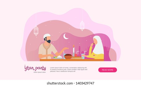 Ramadan kareem. Iftar Eating After Fasting concept. Family dinner on Ramadan or celebrating Eid mubarak. Islamic kids Book Illustration, Landing page templates, Banners, Card Invitation, Social media.