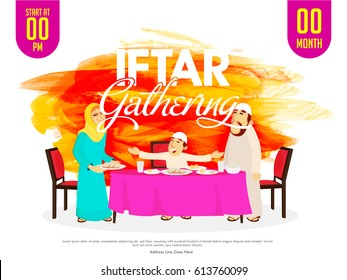 Ramadan Kareem, Iftar Gathering invitation card design. Abstract brush stroke background with illustration of Muslim Family enjoying delicious food.