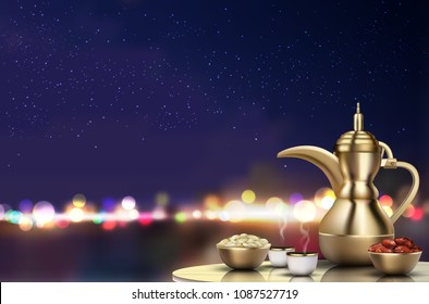 Ramadan Kareem Iftar party celebration. Traditional teapot with bowl, cups and dates on dinner table