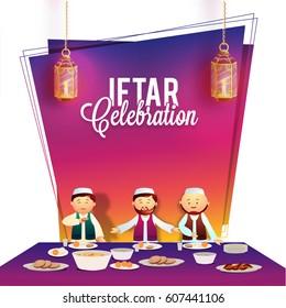 Ramadan Kareem, Iftar Party celebration invitation card design with illustration of Muslim Men enjoying delicious food.