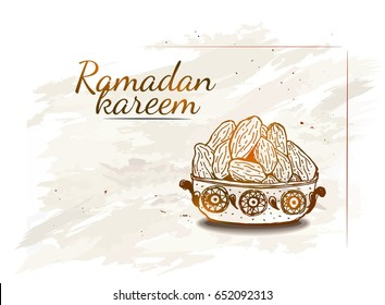 Ramadan Kareem Iftar party celebration. Hand Drawn Dish with dates on the grunge background.Vintage texture.