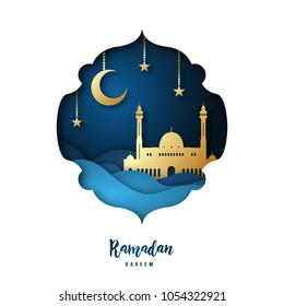 Ramadan Kareem illustration with arabic Gold Origami Mosque, Crescent Moon and Stars. Paper cut style. Vector background.