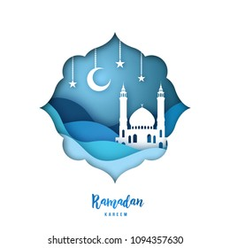 Ramadan Kareem illustration with arabic Origami Mosque, Crescent Moon and Stars. Paper cut style. Vector background.