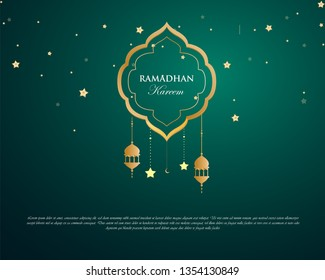 ramadan kareem islamic background modern template for web, greeting card, banner - vector