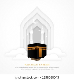 ramadan kareem islamic background with realistic ka'bah alharam mosque and papercut concept style design vector eps 10, eid mubarak, hari raya, eid fitr, eid adha, hajj, umrah