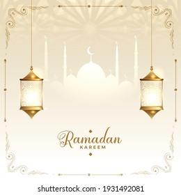 ramadan kareem islamic decorative wishes card design