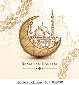Ramadan Kareem islamic design crescent moon and mosque with circle arabic pattern on Grunge Background