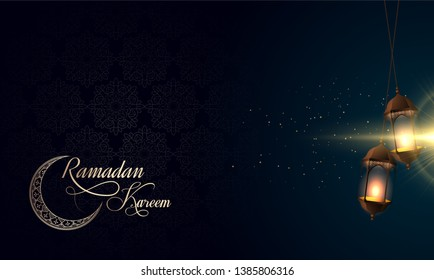 Ramadan Kareem Islamic design crescent moon with Arabic pattern Vector cover background eps ramazan kareem