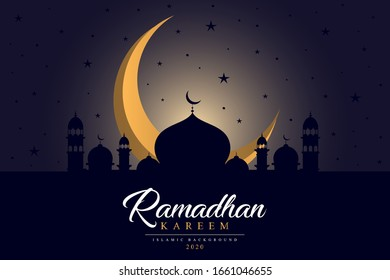 Ramadan Kareem islamic design crescent moon and mosque dome. Beautiful design year 2020 for you. Eps 10 Vector Illustration