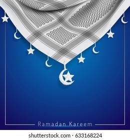 Ramadan Kareem islamic design greeting card with realistic vector traditional arabic scarf for banner background
