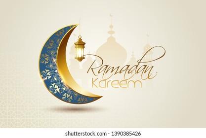 Ramadan Kareem islamic design  mosque with calligraphy and traditonal lantern for islamic greeting background