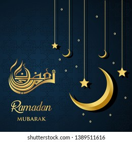 Ramadan Kareem islamic design Ramadan mubarak calligraphy and mosque dome silhouette with stars and moon ornament and gold color