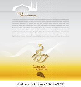Ramadan kareem islamic greeting arabic gold stock vector 1073863730 ramadan kareem islamic greeting with arabic gold pattern background mosque silhouette and islamic calligraphy for m4hsunfo Gallery