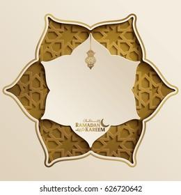 Ramadan Kareem islamic greeting background with morocco pattern