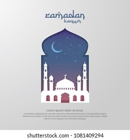 Ramadan Kareem islamic greeting card design with 3D dome mosque element in door or window with paper cut style . background Vector illustration.