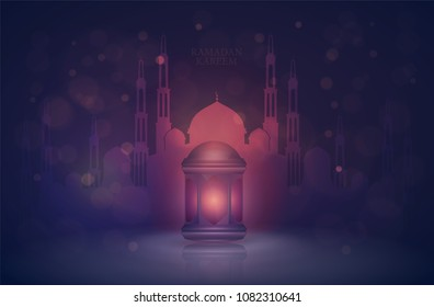 Ramadan Kareem islamic greeting design. Lantern Fanus Muslim feast of the holy month of Ramadan Kareem. vector illustration