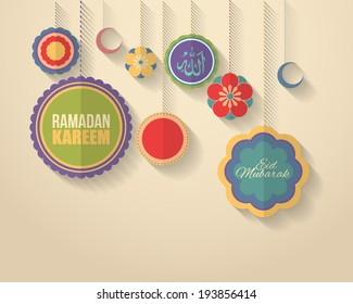 "Ramadan Kareem - Islamic Holy Nights Theme Vector Design - Arabic ""Eid Mubarak"" and ""Allah"", ""be Blessed"" and ""God"" at English"