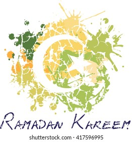 Ramadan Kareem - islamic muslim holiday background or greeting card, with ornamental crescent with a star on grungy modern artistic color splash background