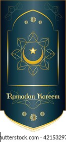 Ramadan Kareem - islamic muslim holiday background or greeting card, with ornamental arabic oriental flag and calligraphy, crescent with a star