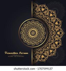 Ramadan Kareem islamic template with luxury gold background vector illustration design