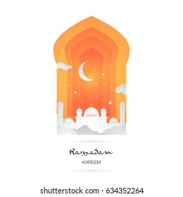 Ramadan Kareem. Islamic vector elements for greeting card. Mosque, cloud, stars and moon illustration inside colorful door