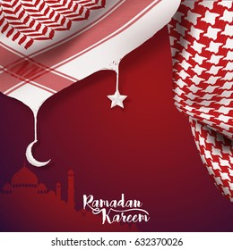 Ramadan Kareem islamic vector greeting banner background arabic scarf on silhouette mosque