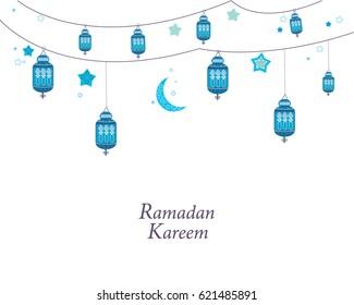 Ramadan Kareem with lamps, crescents and stars. Traditional black lantern of Ramadan greeting card