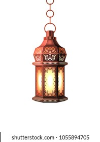Ramadan kareem lantern celebration lamp realistic 3d illustration. Vector arab islam culture festival decoration religious fanoos glowing symbol white background Traditional muslim poster card design