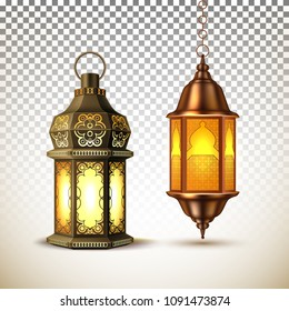 Ramadan kareem lantern celebration lamp realistic 3d illustration. Vector arab islam culture festival religious fanoos glowing symbol on transparent background. Traditional muslim poster card object