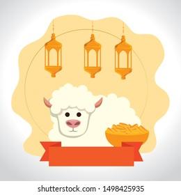 ramadan kareem lanterns with sheep