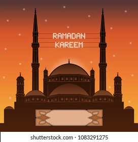 Ramadan Kareem mahya lights over a mosque silhouette. All the objects and letters are in different layers and you can write anything you want with the mahya candles.