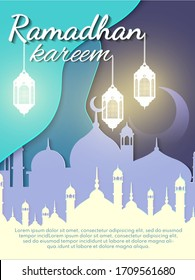 Ramadan kareem (means generous) banner for brochure, poster, flyer design and greeting card. Download Ramadan design vector with mosque and lampion illustration.