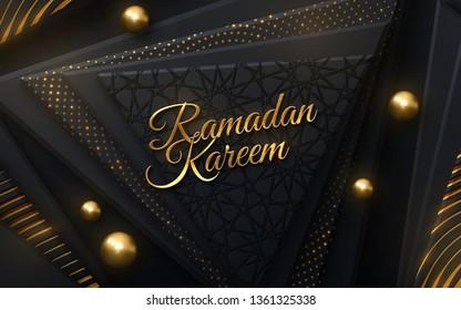Ramadan Kareem. Modern cover design. Vector islamic illustration. Holiday banner design. Muslim month Ramadan cover design. Black and gold banner with geometric shapes and traditional girih pattern