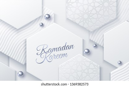 Ramadan Kareem. Modern cover design. Vector illustration. Islamic holiday. Muslim month Ramadan poster template. White banner with geometric hexagon shapes, silver beads and traditional girih pattern